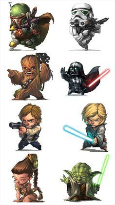 Star wars chibi - Funny Tutorial and Ideas Chibi, Star Wars Art, Comic Art, Character Design, Star Wars Universe, Drawings, Art, Cartoon, Star War 3