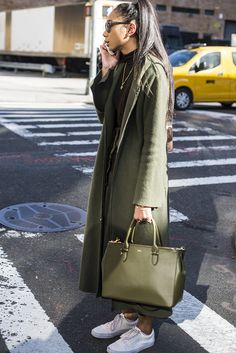 Tone on tone in all over army green at NYFW.
