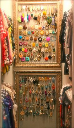 wall spaces, earring holders, closet organization, jewelry displays, old picture frames, old frames, life changing, clothing organization, jewelry organization