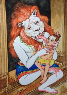 Lord Narasimha and Prahlada Maharaja Krishna Hindu, Cute Krishna, Shiva Shakti, Hindu Deities, Durga, Krishna Drawing, Krishna Painting, Hanuman Wallpaper, Radha Krishna Wallpaper