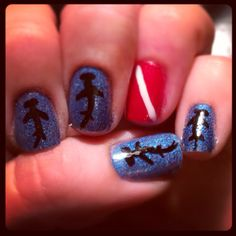 Scuba and shark nail art manicure. I love having fun nails!!!