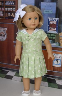 Green pleated summer dress by AnnasGirls on Etsy. Made using the Liberty Jane Clothing Cosplay Day Dress pattern, found at http://www.pixiefaire.com/products/cosplay-day-dress-18-doll-clothes.  #pixiefaire #libertyjane #cosplaydaydress