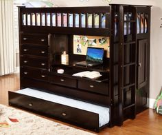 The Discovery World Furniture All in One Loft Bed types of meat perfection for kids' smaller bedroom. Your twin kids would be happy to find 2 sleeping bed. They can enjoy climbing up and down as one bed is attached to the top and other stays bottom of the bed.