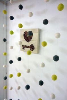 DIY Felt Ball Curtain - Bedroom decor tutorial on my blog :)