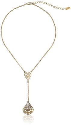 1928 Jewelry Gold-Tone Filigree Pear Shape Adjustable Y-Shaped Necklace, 16'   3' Extender * Read more reviews of the valentines gift ideas by visiting the link on the image.