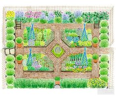 Backyard Garden Inspiration Old-world monastery gardens inspire today& useful and ornamental kitchen gardens. Channel your inner French chef with a garden filled with fresh produce and herbs right out your back door. Potager Garden, Veg Garden, Vegetable Garden Design, Garden Care, Edible Garden, Garden Beds, Vegetable Gardening, Plan Potager, Planting Vegetables