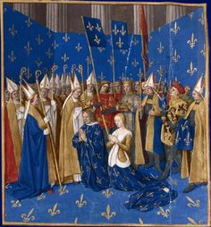 1455-1460 Grandes Chroniques de France, enluminées par Jean Fouquet. August 6, 1223 in Reims, Louis VIII the Lion and his wife, Blanche of Castile, were crowned by the Archbishop William of Joinville, in the presence of Jean de Brienne, King of Jerusalem, Count of Flanders, the bishop Beauvais, who hold respectively the Queen's crown, sword and the dalmatic of the king, prelates and barons.