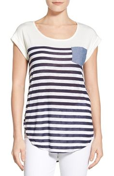 Bobeau Chambray Pocket Stripe Cap Sleeve Top available at #Nordstrom