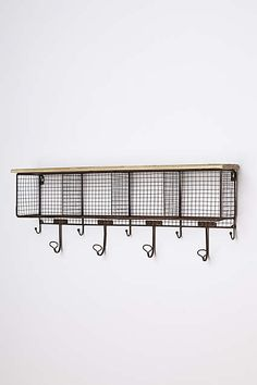 Great wire cubbies/shelf with hooks for towels in the bathroom! eclectic wall shelves by Anthropologie Home Office Storage, Home Organization, Organizing, Funky Decor, Home Hardware, Wall Shelves, Shelving, Shelf, Cubbies