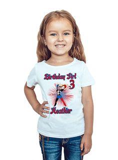 Harley Quinn Birthday T-Shirt Custom Name Age Super Hero Girls Birthday Personalized Shirt by PartyShirtsGalore on Etsy https://www.etsy.com/listing/520083286/harley-quinn-birthday-t-shirt-custom