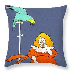 "Vintage little girl parrot cookies ad Leonetto Cappiello Throw Pillow 14"" x 14"" by Aapshop"