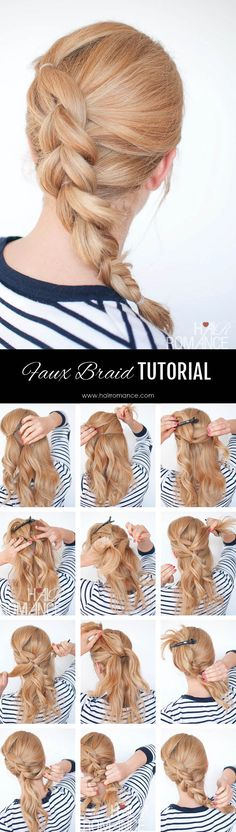 Hair Romance - Braid tutorial cheat - the faux braid - Pull through braid tutorial