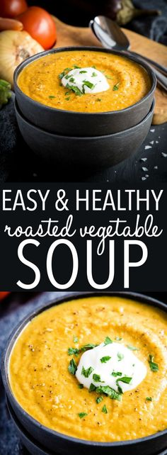 Home Made Doggy Foodstuff FAQ's And Ideas This Easy Healthy Roasted Vegetable Soup Is A Simple Healthy Soup Recipe That's Packed With Freshly Roasted Seasonal Vegetables It's Quick And Easy To Make Recipe From Thebusybaker. Roasted Vegetable Soup, Vegetable Soup Healthy, Vegetable Soup Recipes, Easy Soup Recipes, Healthy Vegetables, Easy Healthy Recipes, Fall Vegetables, Easy Meals, Cooking Recipes