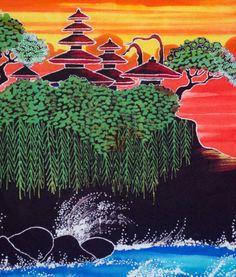 lukisan Tanah Lot Berbahan dari kain katun,  lukisan ini dibuat dengan teknik membatik, untuk hiasan dinding dan aksesoris ruangan.  Cerita dilukisan :  lukisan ini menceritakan keindahan pura di tengah laut yang bernama pura tanah lot, ditambah dengan keindahan sunset akan lebih lengkap...