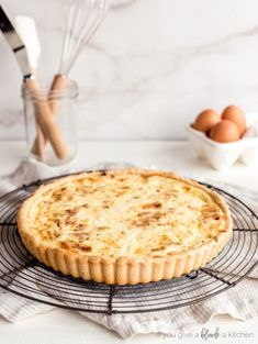 quiche lorraine on round wire cooling rack on countertop Brunch Recipes, Breakfast Recipes, Quiche Lorraine Recipe, How To Make Waffles, Fresh Fruit Salad, Custard Filling, Tart Shells, Breakfast Pastries