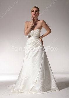 fancyflyingfox.com Offers High Quality Ivory Satin Low Cut Sweetheart Neckline A-line Full Length Bridal Gowns With Bow Sash ,Priced At Only US$215.00 (Free Shipping)