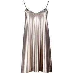 Boohoo Melody Metallic Faux Leather Slip Dress (565 DOP) ❤ liked on Polyvore featuring dresses, vestidos, short dress, short bodycon dresses, brown bodycon dress, short dresses, bodycon midi dress and skater dress