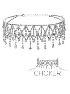 """crystal dangle choker necklace 1"""" drop bridal prom pageant"""