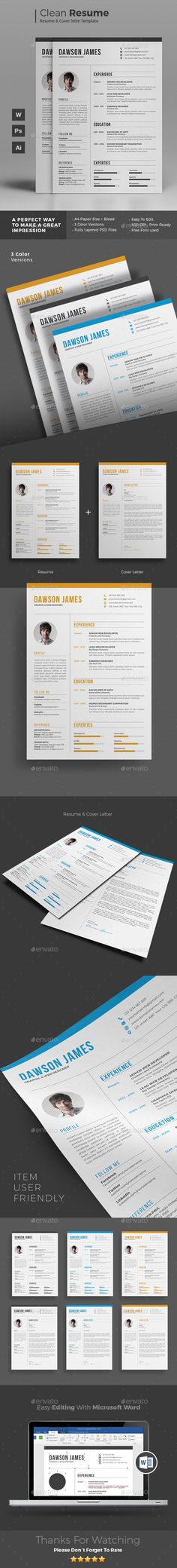 Resume Template PSD, AI Illustrator, MS Word. Download here…