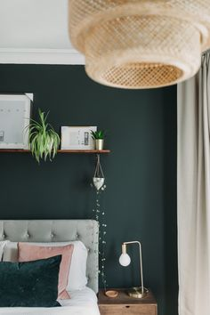 Farrow and Ball Studio Green wall . Ikea Sinnerlig Light, shelf above bed with plants Light Green Bedrooms, Green Bedroom Walls, Green Master Bedroom, Green Bedroom Decor, Green Accent Walls, Dark Green Walls, Bedroom Wall Colors, Master Bedroom Makeover, Room Ideas Bedroom