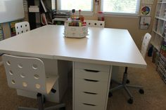 """Group """"desk"""" vika Amon table tops & drawers from Ikea  (ala Confessions of a Homeschooler)"""