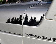 Jeep Wrangler TJ Extended Hood Forest Decal Full Set