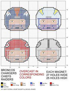 NFL AFC West Football Helmet Magnets plastic canvas pattern by Michael Kramer Plastic Canvas Coasters, Plastic Canvas Ornaments, Plastic Canvas Christmas, Plastic Canvas Crafts, Plastic Canvas Patterns, Cross Stitch Designs, Cross Stitch Patterns, Football Crafts, Peler Beads