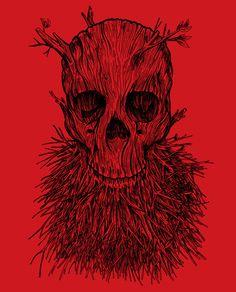 The #Lumbermancer #Art Print #tattoo #design #beard #skull #tree