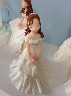 Porcelain And China Marks Refferal: 6165238964 Wedding Cake Toppers, Wedding Cakes, Fondant People, Fondant Animals, Jar Art, Clay Baby, Clay Figurine, Fondant Toppers, Polymer Clay Dolls