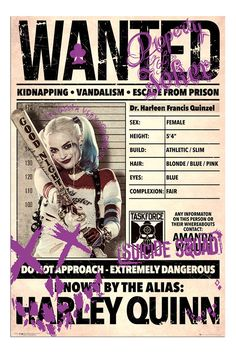 Buy Suicide Squad Poster - Harley Quinn Wanted online and save! Suicide Squad Poster – Harley Quinn Wanted This poster delivers a sharp, clean image and vibrant colours. This poster is printed on high quality pape. Der Joker, Joker Und Harley Quinn, Harley Quinn Drawing, Arlequina Margot Robbie, Margot Robbie Harley Quinn, Harey Quinn, Suicide Squad, The Villain, Marvel Dc Comics