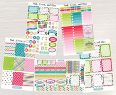 Pinning so I don't forget!! Remember to go back and check out Crafted By Corley on Etsy. Pink Green and Blue Weekly Planner Kit - Erin Condren Vertical and Horizontal Life Planner Stickers Weekly Sticker Set No White Space by CraftedByCorley