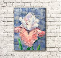 Iris in the lace  Original Oil Painting on canvas palette