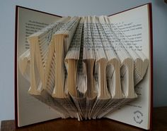 Birthday gift for mum/mom folded book art-mother's by Meiorigami Birthday Presents For Mum, Mum Birthday Gift, Gifts For Mum, Folded Book Art, Book Folding, Fundraising Ideas, Make And Sell, Handmade Crafts, Charity
