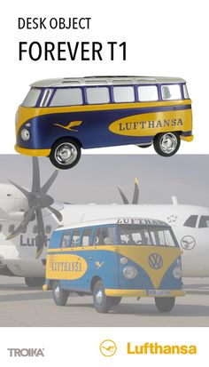 TROIKA FOREVER T1 - LUFTHANSA custom-made product. VW Camper (T1, Samba bus, 1962), desk object, with friction motor *** VW Bulli (T1, Samba Bus, 1962), Schreibtisch-Objekt, mit Rückziehmotor