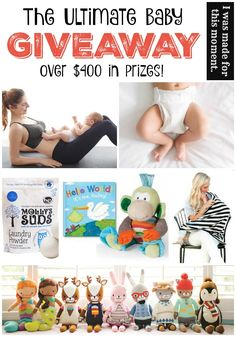 GIVEAWAY! $400+ in Baby Stuff! You could win diapers, wipes, laundry detergent, a personalized book, a hand-knit doll, nursing cover and more!
