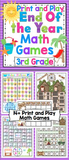 End of the Year 3rd Grade Math Games (Print and Play: No Prep) - Relax and enjoy the end of the year with your students with this set of 14+ print and play math games. These games are fun and and review key 3rd grade math concepts. $
