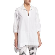 Max Mara Oversized 3/4-Sleeve Cotton Blouse (4.710 NOK) ❤ liked on Polyvore featuring tops, blouses, optic white, 3/4 length sleeve tops, three quarter length sleeve tops, oversized white blouse, three quarter sleeve blouses and white 3/4 sleeve crop top