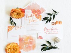 Bright Orange Art Gallery Wedding Inspiration