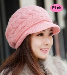 periwinkLuQ Fashion Women Hat Solid Color Thicken Woolen Yarn Knitted Beanies Peaked Cap for Autumn Winter Casual