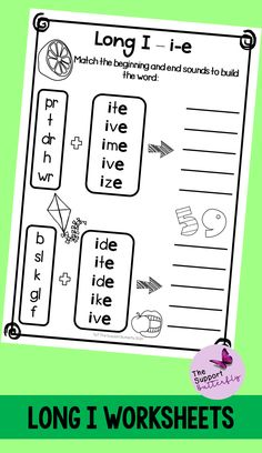 These long vowel worksheets are just what you need for you Kindergarten or First Grade students! These no prep worksheets are perfect for Literacy lessons, Literacy centers or word work. Are you teaching your class about long i sounds - long ie, long igh, long y and long i with magic e? These printables will be easy to implement and engaging during your spelling or reading lessons. These ready to go worksheets are accessible to all students and are easy to implement. Long Vowel Worksheets, Long Vowels, Vowel Sounds, Long I, Reading Lessons, Word Work, Literacy Centers, Phonics, Spelling
