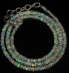 """26 Crts 1 Necklace 2to4mm 16"""" Beads Natural Ethiopian Welo Fire  Opal  56565"""