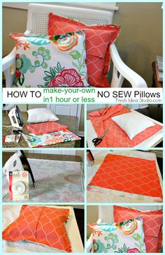 No Sew Pillow Cover in 1 hour or less Tutorial by Fresh Idea Studio, no sew pillow cushions screen porch DIY MA MAISON, DIY screen porch, DIY pillows DIY cushions, Sewing Pillows, Diy Pillows, Pillow Ideas, No Sew Cushions, Recover Pillows, Decorative Pillows, Patio Cushions, Easy No Sew Pillow Covers, Throw Pillow Covers