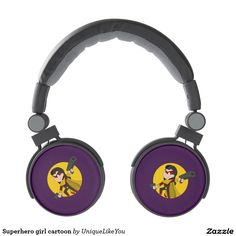 Superhero girl cartoon headphones