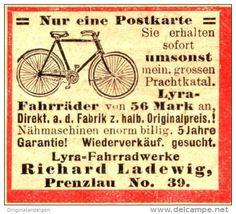 Original-Werbung/Anzeige 1906 - LYRA - FAHRRÄDER / LADEWIG PRENZLAU - ca. 40 x 30 mm