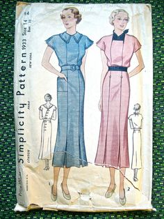 Vintage 1930s sewing pattern by Simplicity 1933.  by Fancywork, $32.00