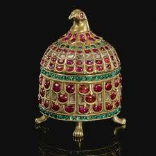 Indian gem-set gilt metal casket with bird-head finial