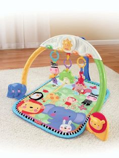 Fisher-Price Discover 'n Grow Tracking Lights Musical Gym by Fisher-Price. $41.99. From the Manufacturer                Eye-tracking skills are an important part of early development. This comfy gym is specially designed with colorful lights that move back and forth, timed to music and just right for baby to follow along! Requires 2 AA batteries.                                    Product Description                Fisher-Price Discover 'n Grow Tracking Lights Musical Gym