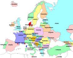 Mapa con los países europeos