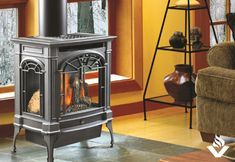 Buy a LOPI Northfield Cast Iron Gas Stove from Vancouver Gas Fireplaces. We also build custom fireplaces for builders, contractors, and renovators. Gas Stove Fireplace, Wood Gas Stove, Wood Pellet Stoves, Gas Fireplaces, Custom Fireplace, Diy Fireplace, Free Standing Gas Stoves, Small Gas Stove, Wood Stove Surround