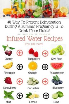 How To Prevent Dehydration During Pregnancy: The best way is to drink more fluids! If you can't stand plain water, try a water infuser. The chart above gives you 4 simple infused water recipes you may want to try to make sure you stay well hydrated during Infused Water Recipes, Fruit Infused Water, Infused Waters, Fruit Water, Healthy Eating Tips, Healthy Nutrition, Clean Eating, Pregnancy Food Cravings, Pregnancy Food Recipes